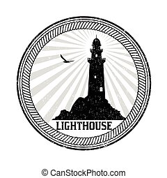 Lighthouse sign or stamp