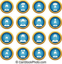 Stress icons blue circle set isolated on white for digital...