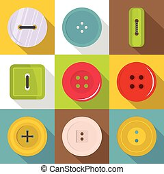 Sewing button icons set, flat style - Sewing button icons...
