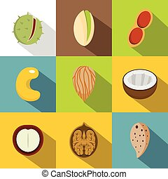Various kinds of nuts icons set, flat style