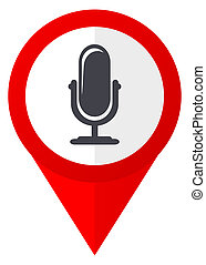 Microphone red web pointer icon. Webdesign button on white...
