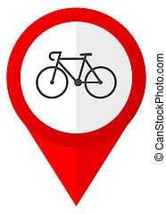 Bicycle red web pointer icon. Webdesign button on white...
