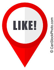 Like red web pointer icon. Webdesign button on white...