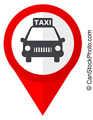 Taxi red web pointer icon. Webdesign button on white background.