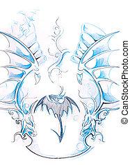tatuagem, arte, Esboço, tribal, desenho