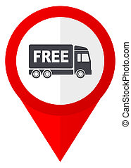 Free delivery red web pointer icon. Webdesign button on...