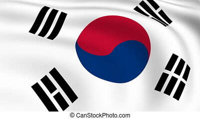 Flying Flag of SOUTH KOREA | LOOPED |