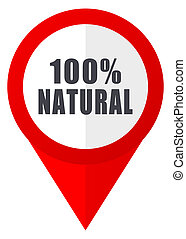 Natural red web pointer icon. Webdesign button on white...