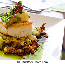 Gourmet Pacific Halibut - A main course meal featuring...