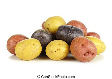 Pile of colorful little potatoes over white - Pile of...
