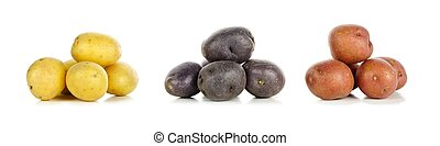 Three piles of yellow, purple and red little potatoes over...