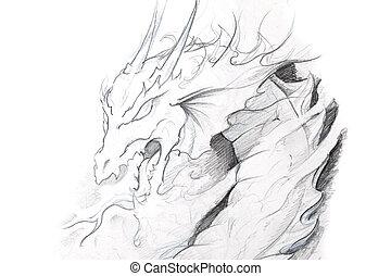 入れ墨, スケッチ, 中世, 芸術, ドラゴン