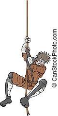 samurai hanging rope vector