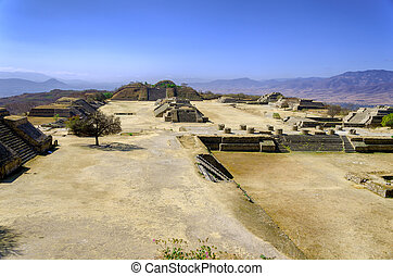 Ruins of Monte Alban in Oaxaca - Panoramic view of ruins in...