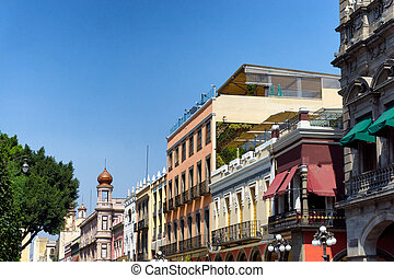 Historic Center View in Puebla - View of buildings in the...