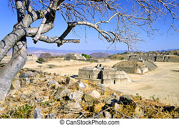 Panoramic View of the Great Plaza in Monte Alban, Oaxaca -...