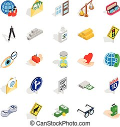 Assistance icons set, isometric style - Assistance icons...