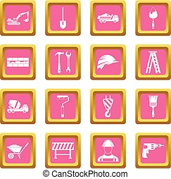 Construction icons pink