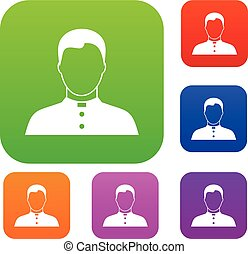 Pastor set collection - Pastor set icon in different colors...