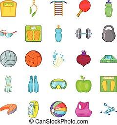 Gymnasium icons set, cartoon style - Gymnasium icons set....