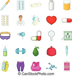 Personal doctor icons set, cartoon style - Personal doctor...