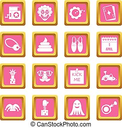 April fools day icons pink