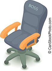Office chair icon, isometric 3d style