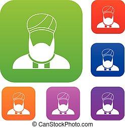 Muslim preacher set collection - Muslim preacher set icon in...