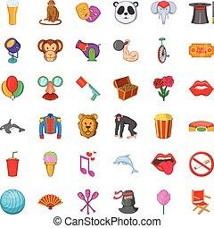 Monkey icons set, cartoon style