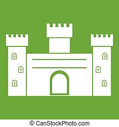 Medieval fortification icon green - Medieval fortification...