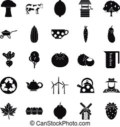 Grown food icons set, simple style - Grown food icons set....