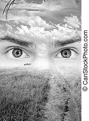 Daydream - Surreal nature artwork with eyes seeing the...