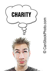 Young man thinks about charity