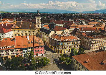 Panorama, city of Sibiu, beautiful historic town in Romania