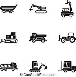 Building heavy vehicle icon set, simple style - Building...