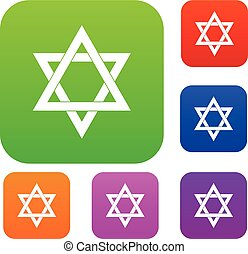 Star of David set collection - Star of David set icon in...