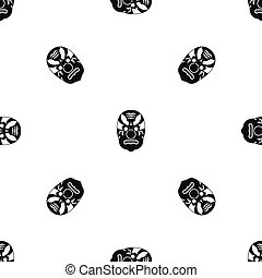 Tribal mask pattern seamless black - Tribal mask pattern...