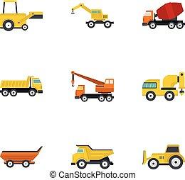 Construction machine icon set, flat style