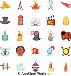 Story icons set, cartoon style