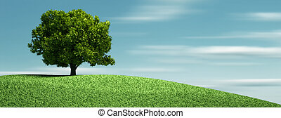 A tree on hill - this is a 3d render illustration