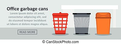 concept, bureau, poubelles, horizontal, bannière