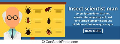 Insect scientist man banner horizontal concept. Flat...