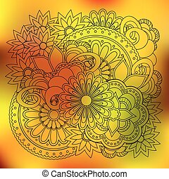 transparent floral summer composition with mandalas yellow gradient
