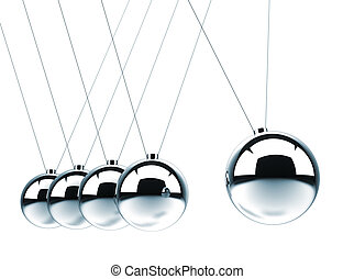 Close up of Newton's cradle - this is a 3d render...