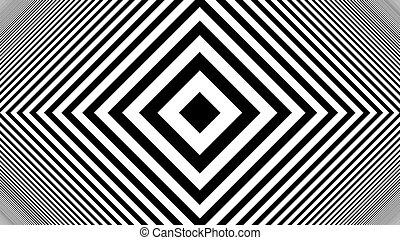 Hypnotic Rhythmic Movement Black And White stripes. 3d...