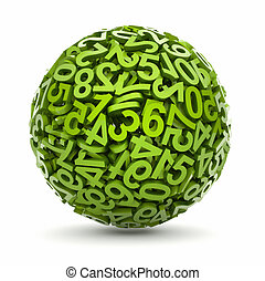 Sphere made of numbers - this is a 3d render illustration