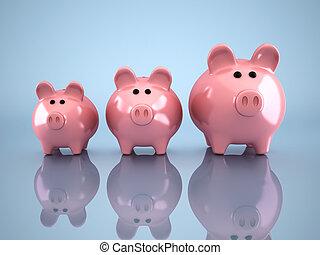 Piggy bank - Three piggy bank - this is a 3d render...