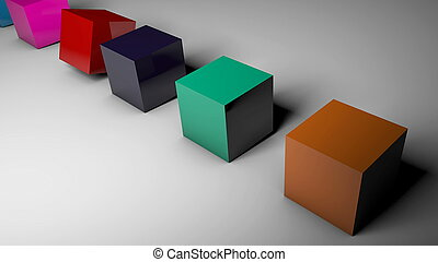 The rotation of cubes of different colors on the floor. 3d...