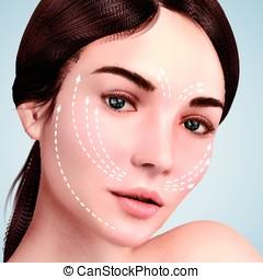 Closeup look at beautiful model, skin lifting effect with...