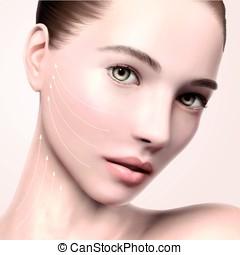 Beautiful model face portrait, 3d illustration model for...